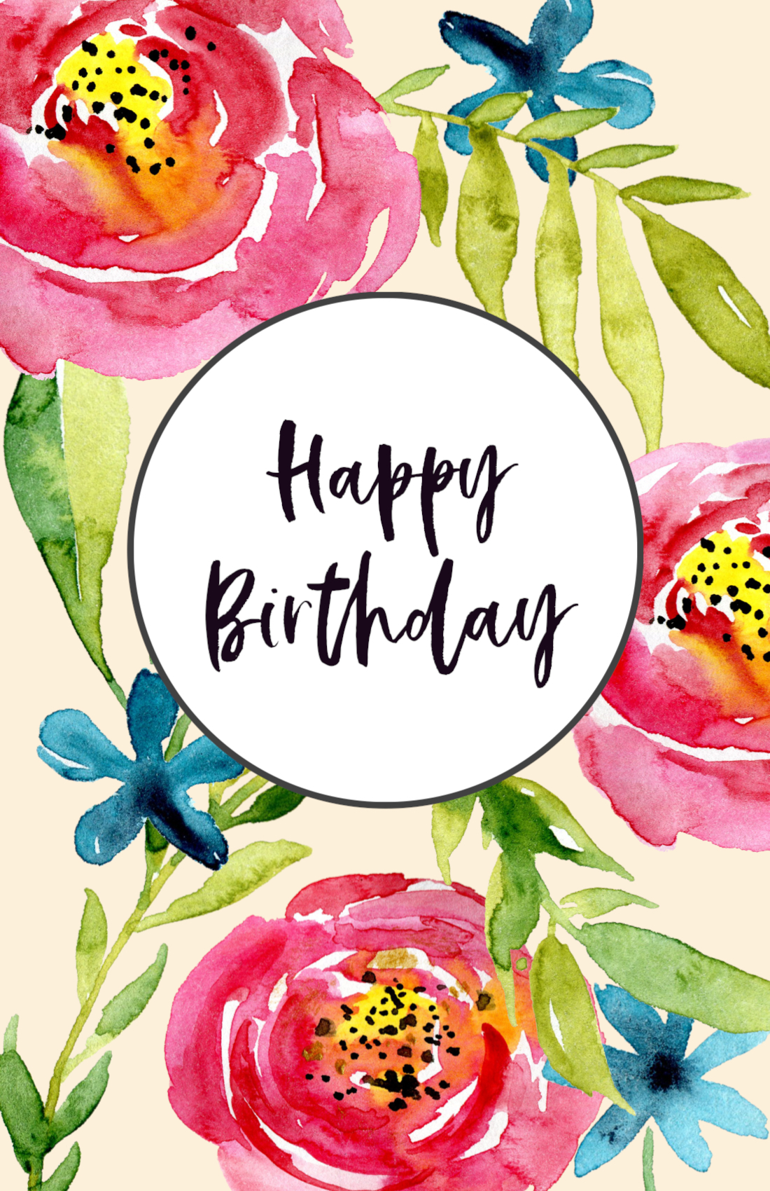 Free Printable Happy Birthday Card Floral