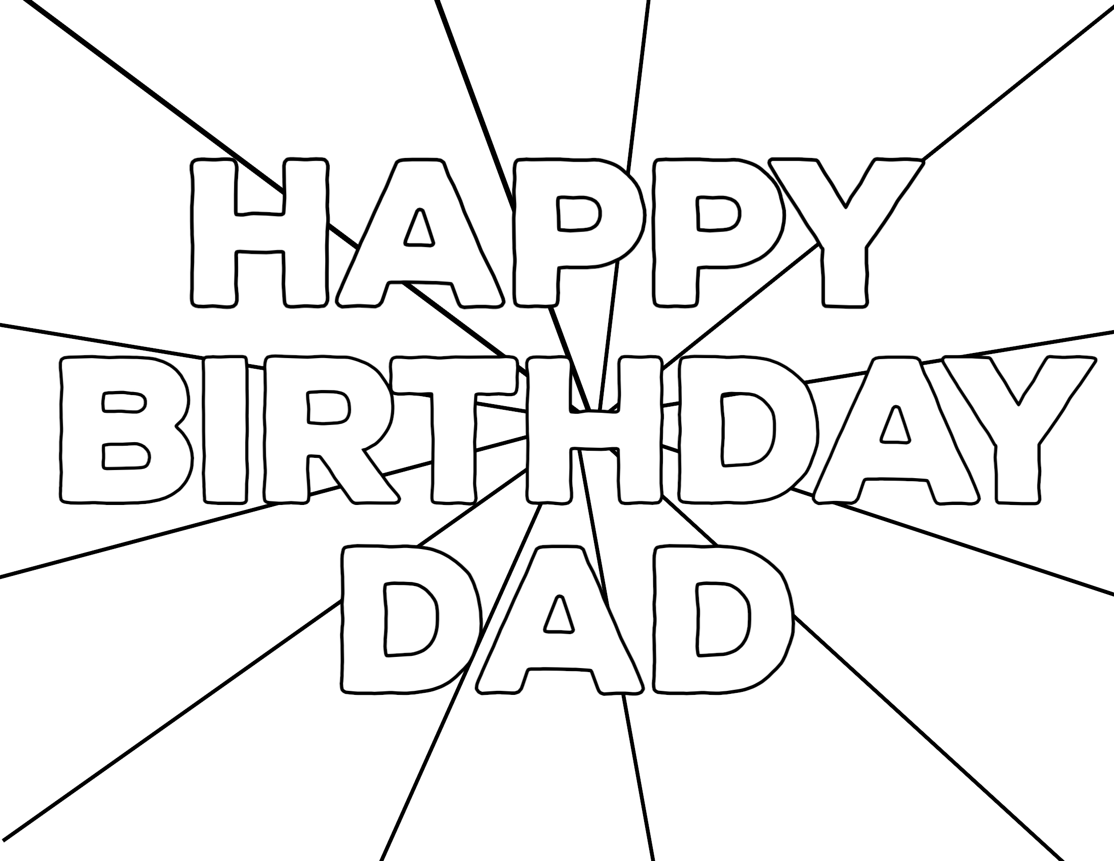This is a graphic of Geeky Happy Birthday Dad Coloring Sheet