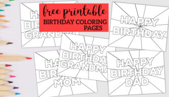 Free Printable Happy Birthday Coloring Pages. Coloring sheets for kids to color for Mom, Dad, Grandma, Grandpa. Fun birthday gift. #papertraildesign #happybirthday #birthday #coloringpage #coloringpages #happybirthdaycoloringpages #birthdaygifts #birthdaygift #birthdayideas #birthdayparty