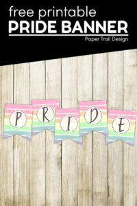 pastel rainbow pride banner with text overlay- free printable pride banner