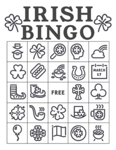 Free Printable St. Patrick's Day Bingo Cards. Irish bingo cards complete class set. Shamrock activity. #papertraildesign #shamrock #potofgold #school #schoolparty #stpatricksdayparty #irishparty #luckoftheirish #potofgold #leprechaun #lucky #stpaddy #stpaddysday #stpaddyday #paddysdayparty #partyactivity