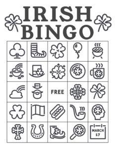 Free Printable St. Patrick's Day Bingo Cards. Irish bingo cards complete class set of thirty. Shamrock, rainbow, pot of gold. #papertraildesign #lucky #bingo #irish #irishbingo #stpatricksdaybingo #stpatricks #stpatrick #stpatricksbingo #happystpatricksday #stpatricksactivity #free #freeprintable