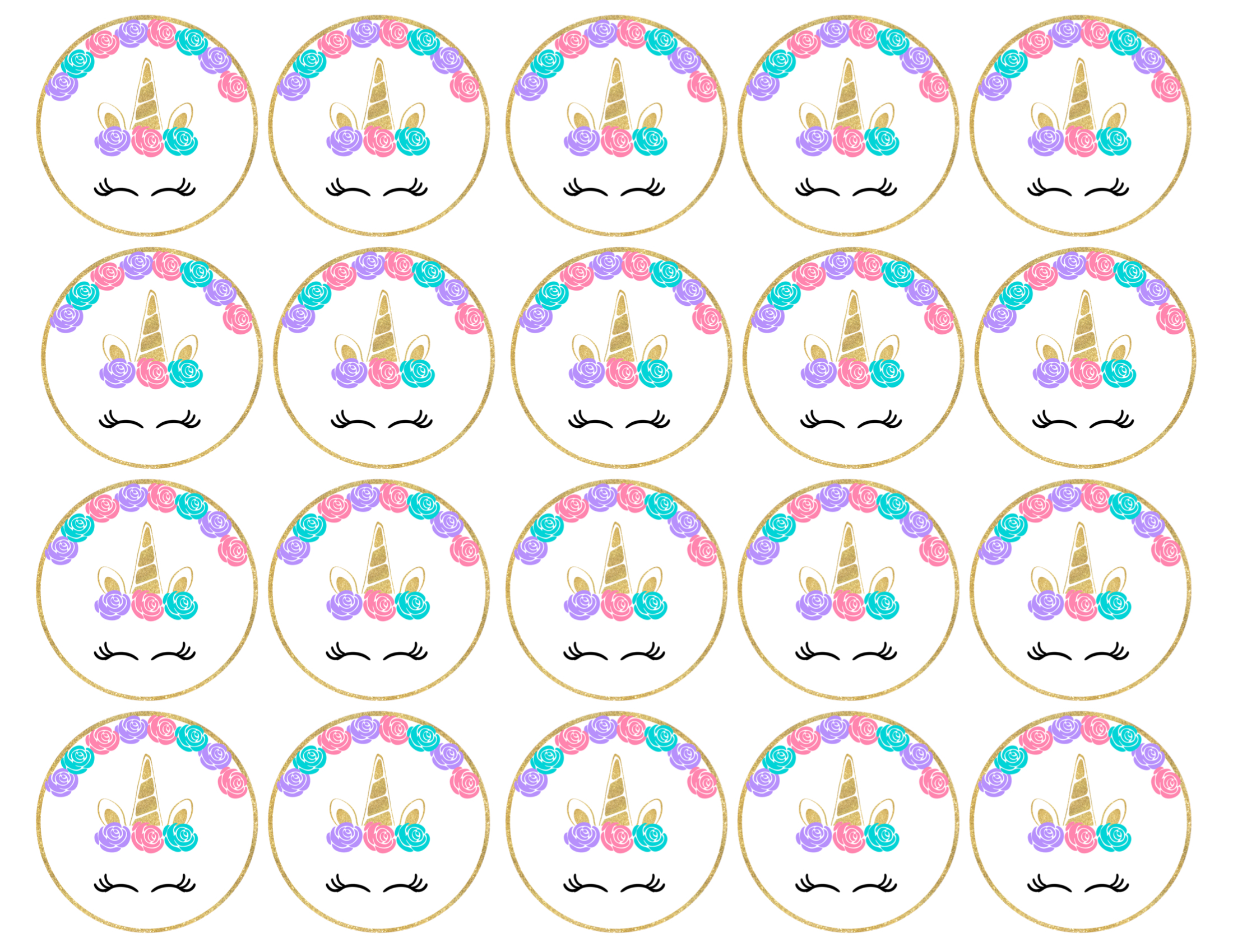 image regarding Free Printable Unicorn identified as No cost Printable Unicorn Cupcake Toppers - Paper Path Style