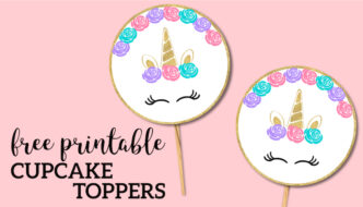 Free Printable Unicorn Cupcake Toppers. Use these for a Unicorn birthday party or baby shower instead of cake. Easy DIY Unicorn party. #papertraildesign #unicorn #unicornparty #unicornbirthdayparty #birthdayparty #birthday #girlbirthday #girlbirthdayparty #easybirthdayparty #DIYbirthdayparty #birthdayprintables #freeprintables
