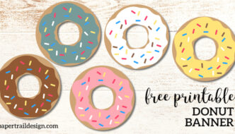 Free Printable Donut Banner Party Decor. Doughnut birthday party, baby shower, or donut grow up party. Donut dessert bar decoration. #papertraildesign #donut #doughnut #donutbar #doughnutbar #Donutdecor #doughnutdecor #donutbirthdayparty #douighnutbirthdayparty #donutbirthday #doughnutbirthday