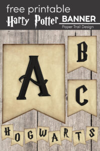 Harry Potter themed letters ABC and Hogwarts with text overlay- free printable Harry Potter banner