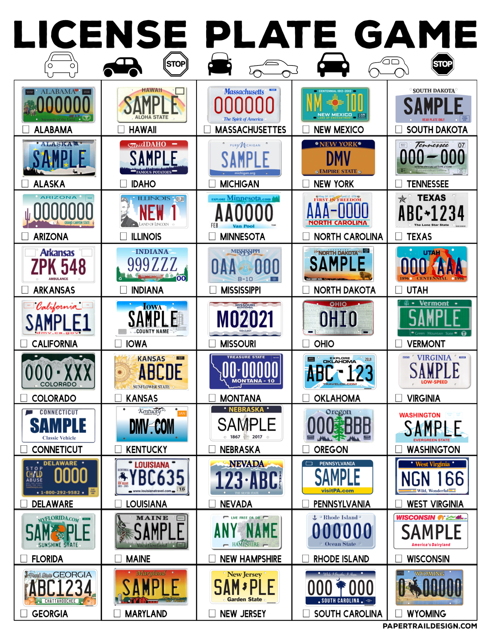 photo regarding License Plate Game Printable identified as Highway Getaway License Plate Recreation Printable - Paper Path Design and style