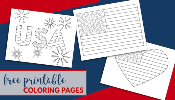Free Printable 4th of July Coloring Pages. American flag heart, USA, and American flag coloring page. Mermorial Day and Vetrans Day coloring sheets. #papertraildesign #USA #Americanflag #July4th #4thofJuly #patrioticcoloringpage #patriotic