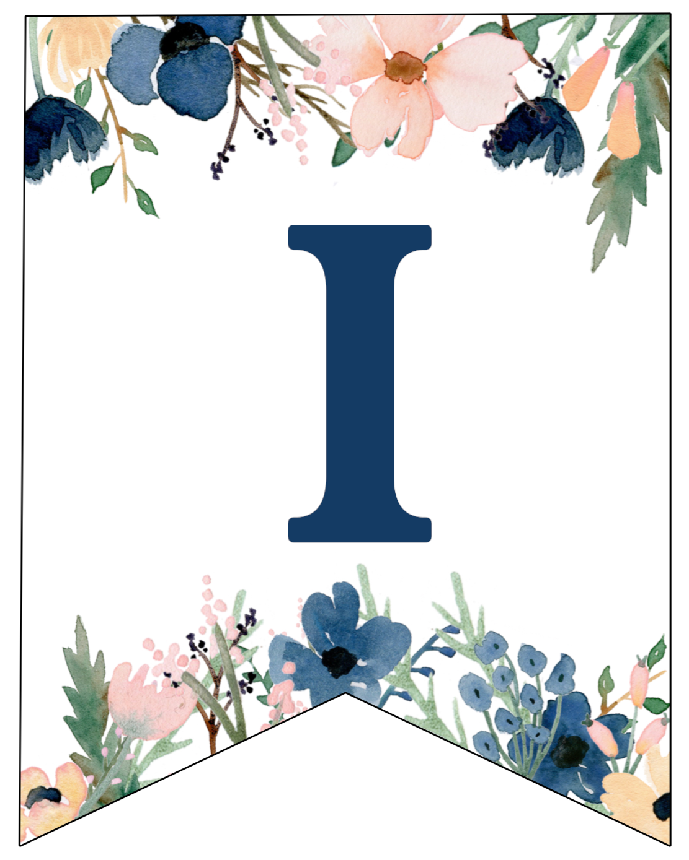 Blue Pink Floral Banner Letters Free Printable Paper Trail Design
