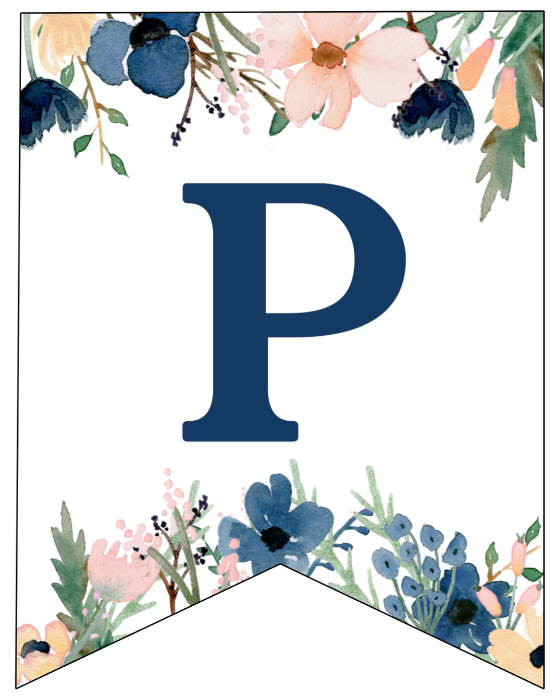 Blue & Pink Floral Banner Letters Free Printable | Paper ...