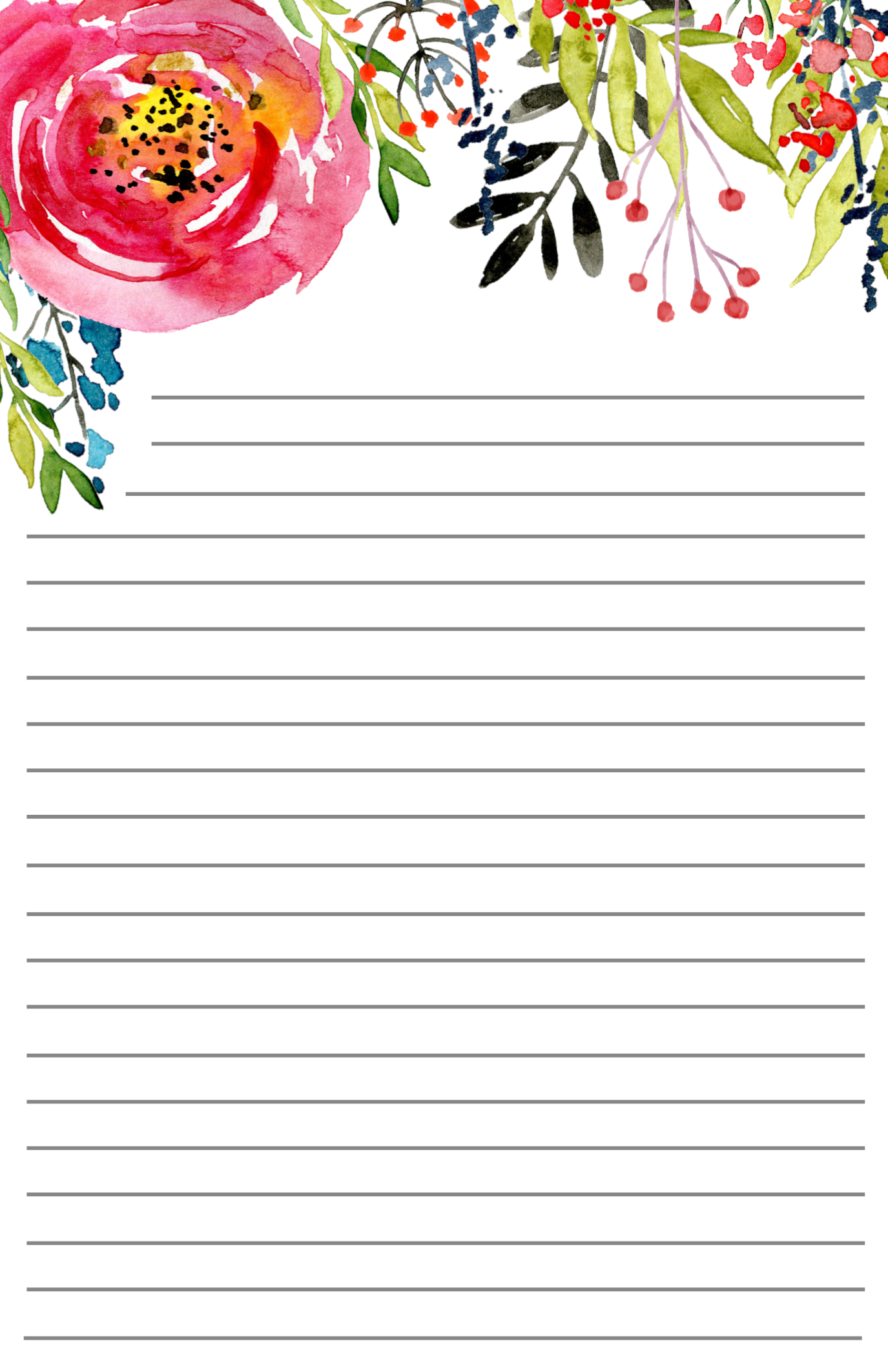 photograph regarding Free Printable Stationery Paper identified as Cost-free Printable Floral Stationery - Paper Path Layout