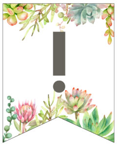 Succulent Free Printable Alphabet Banner Letters. Cute wedding, birthday, baby shower, or bridal shower decor. Create a custom banner. #papertraildesign #birthdayparty #birthdaypartydecor #succulents #birthdayparties #babyshowers #girlbabyshower #decor #freeprintable #printable #printablebanner