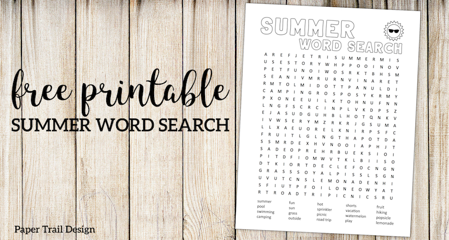 Summer Word Search Printable. Free printable summer fun activity. End of the school year activity or road trip boredom buster. #papertraildesign #summer #summerboredombuster #boredombuster #summeractivity #endofyear #endofyearactivity
