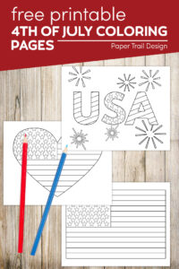4th of July coloring pages in shae of USA flag and USA with fireworks with text overlay- free printable 4th of July coloring pages