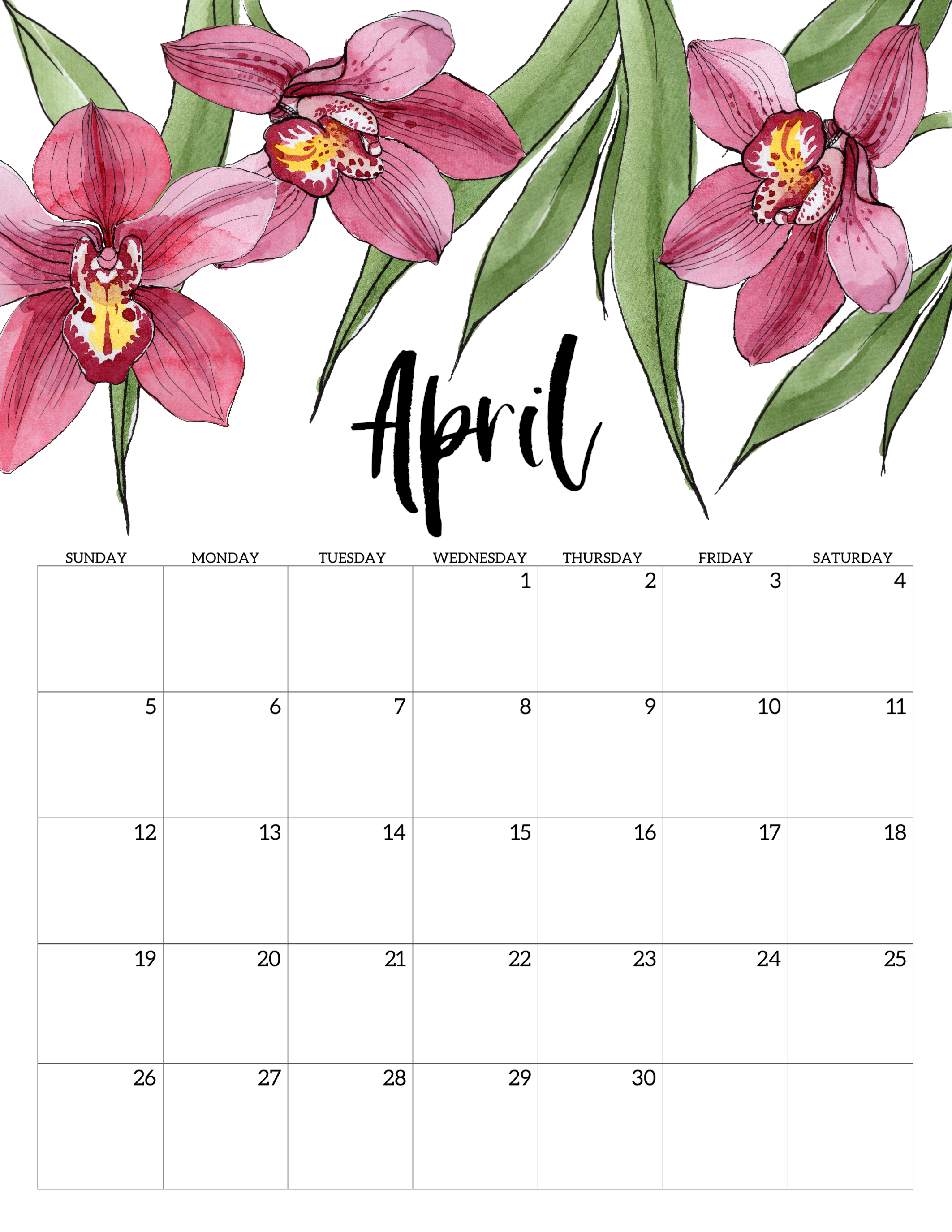 graphic relating to Free Printable Flower identified as 2020 Totally free Printable Calendar - Floral - Paper Path Design and style