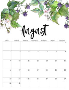 August 2020 Free Printable Calendar - Floral. Watercolor flower design calendar pages for a office or home calendar for work or family organization. #papertraildesign #calendar2020 #calendar #2020calendar #flowercalendar #floralprintables