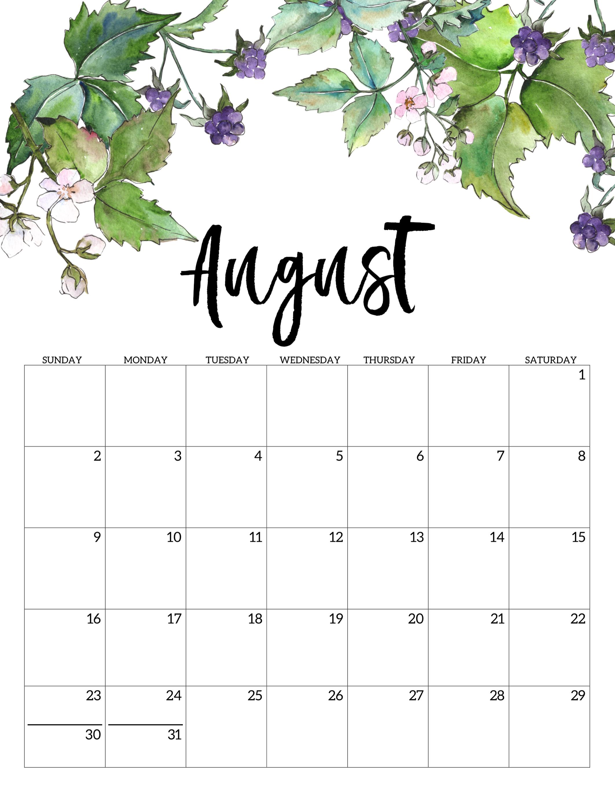 July Calendar For 2020.2020 Free Printable Calendar Floral Paper Trail Design