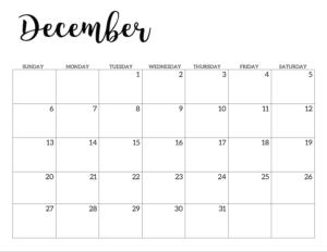 December 2020 Calendar Free Printable Handletterd