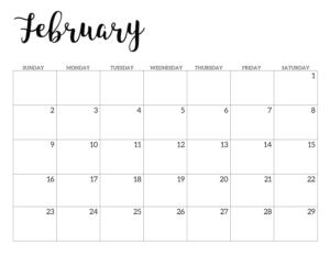 February 2020 Calendar Free Printable Handletterd