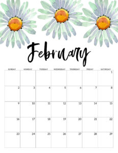 February 2020 Free Printable Calendar - Floral. Watercolor flower design calendar pages for a office or home calendar for work or family organization. #papertraildesign #calendar2020 #calendar #2020calendar #flowercalendar #floralprintables