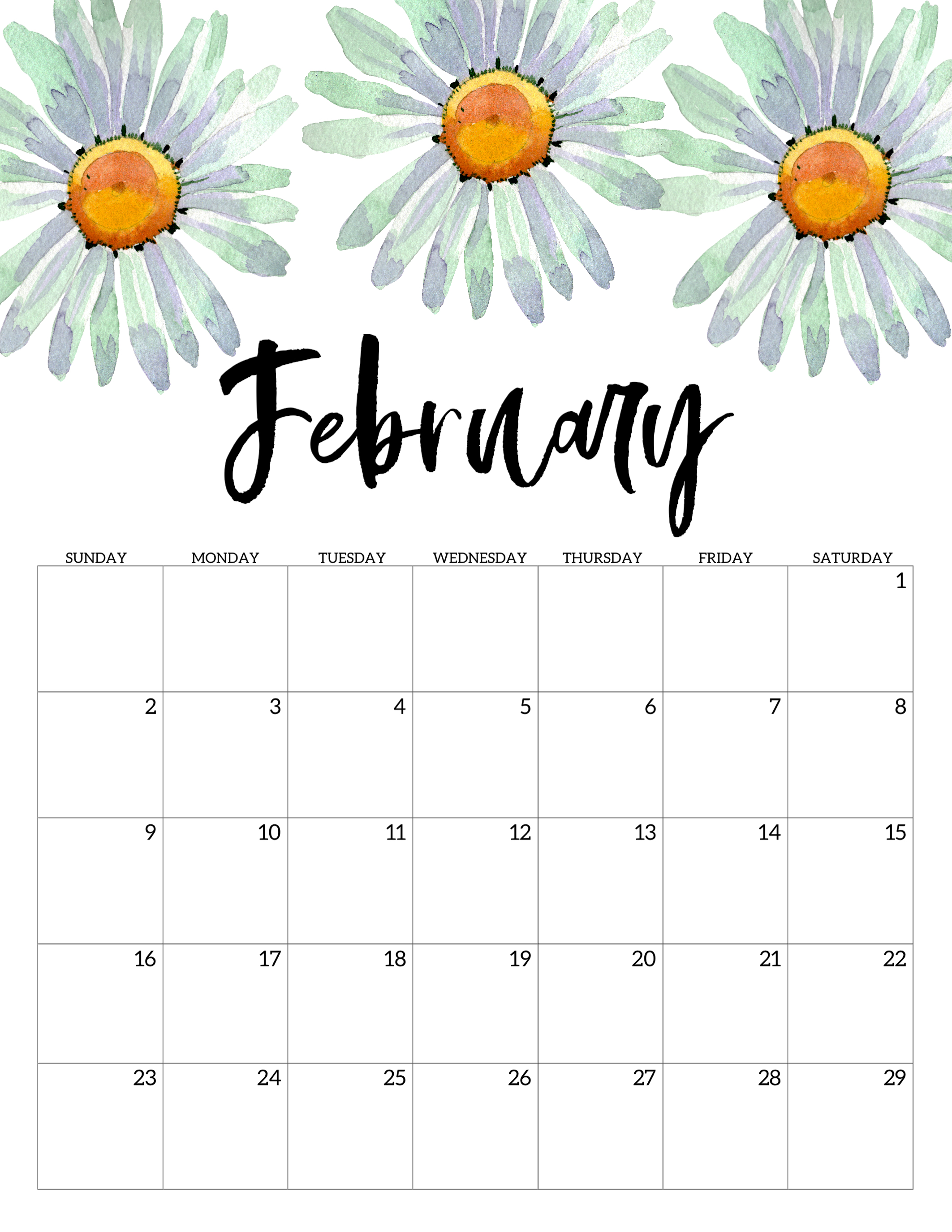 photograph relating to Printable Calendar 2020 identified as 2020 Free of charge Printable Calendar - Floral - Paper Path Style and design