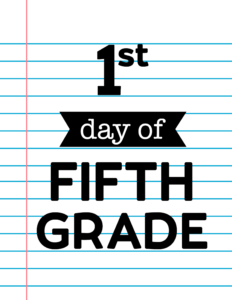 1st day of fifth grade sign