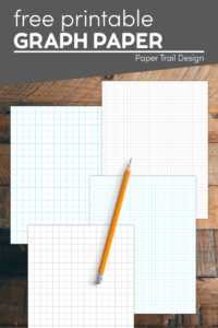Graph paper in 1/2, 1/4, and 1/8 inch sizes in black or blue lines with text overlay- free printable graph paper