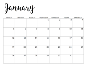 January 2020 Calendar Free Printable Handletterd
