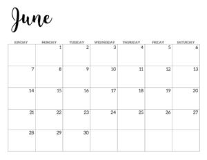 June 2020 Calendar Free Printable Handletterd