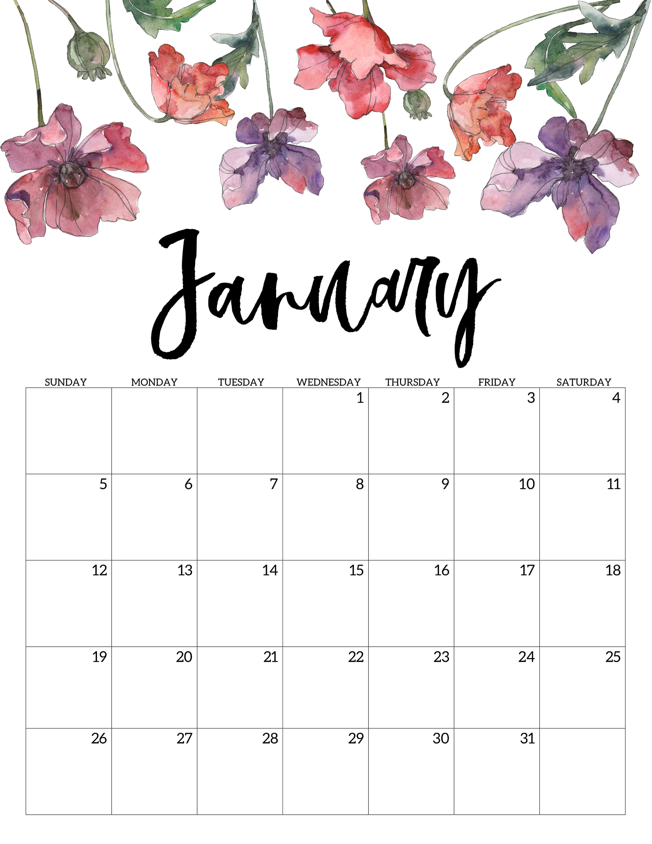 January 2020 Calendar Template.2020 Free Printable Calendar Floral Paper Trail Design