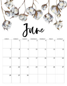 June 2020 Free Printable Calendar - Floral. Watercolor flower design calendar pages for a office or home calendar for work or family organization. #papertraildesign #calendar2020 #calendar #2020calendar #flowercalendar #floralprintables