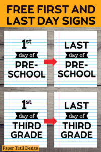 Matching first and last Day of School Signs {Notebook Paper}. Last day of school photo prop sign. First and last day coordinating picture signs. #papertraildesign #firstandlastday #firstandlastdaysigns #freeprintables #lastdayphotos #photopropsign #photoprop