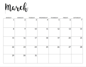 March 2020 Calendar Free Printable Handletterd
