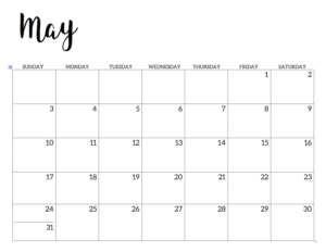 May 2020 Calendar Free Printable Handletterd