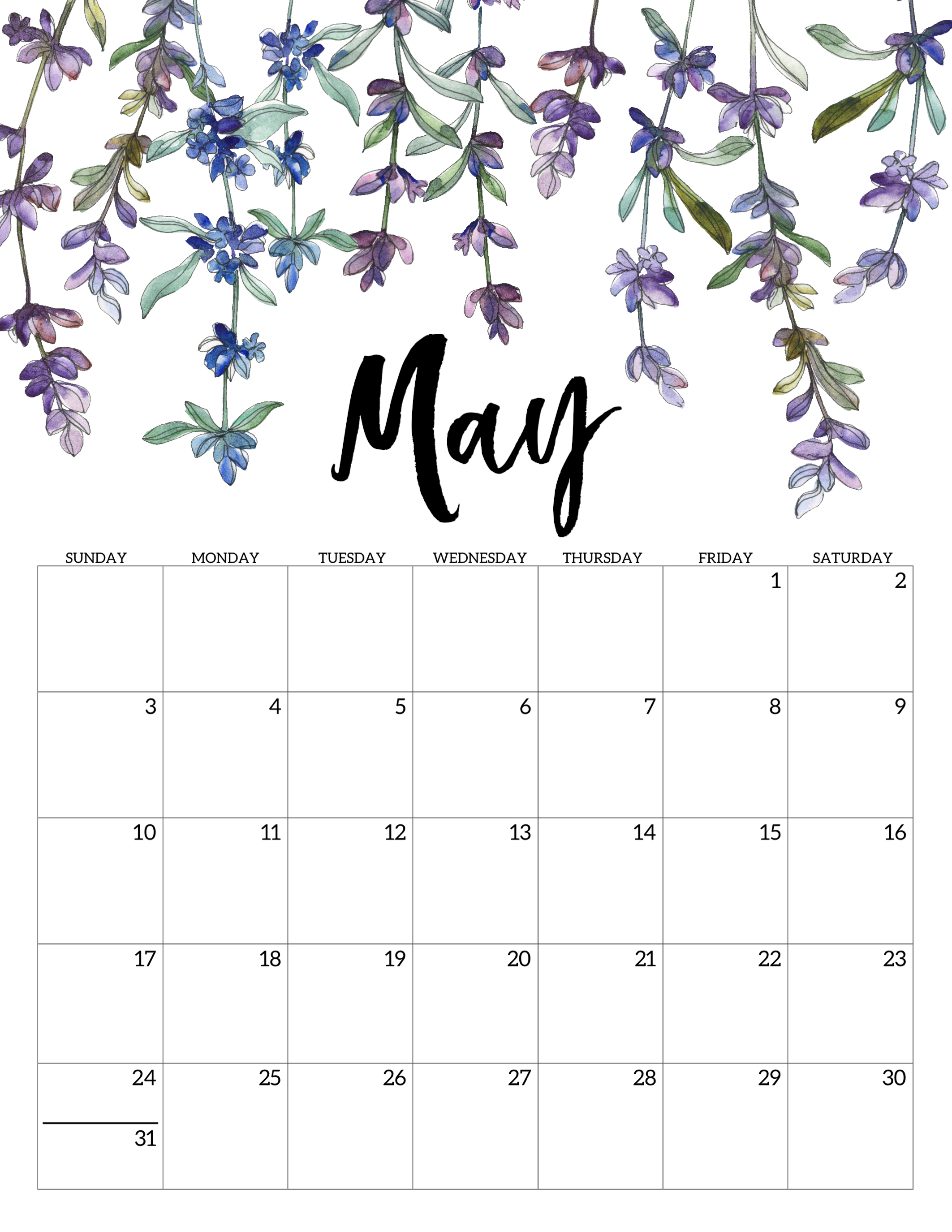 image regarding Free Printable 2020 Calendar named 2020 No cost Printable Calendar - Floral - Paper Path Layout