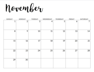 November 2020 Calendar Free Printable Handletterd