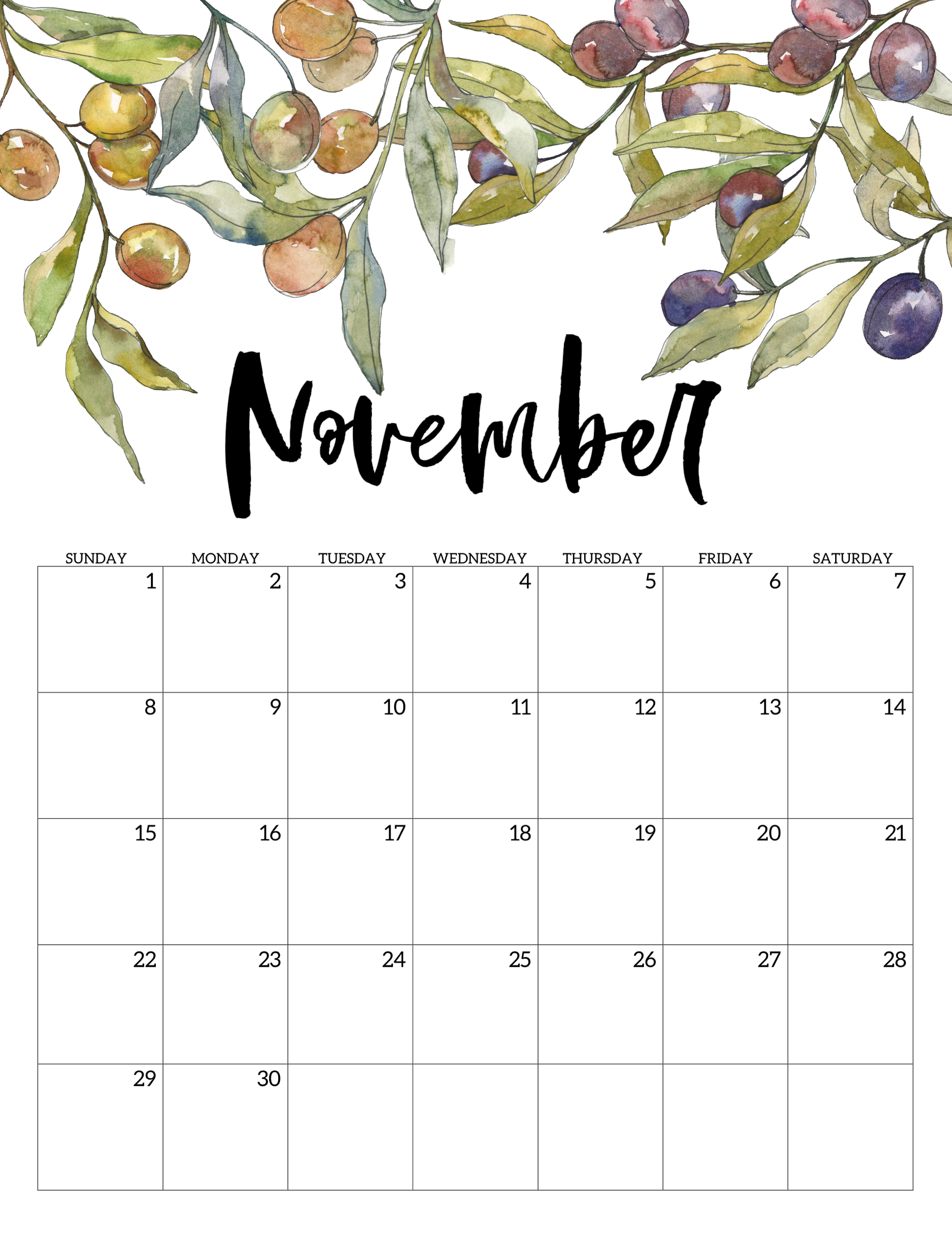 image about Free Printable 2020 Calendar identified as 2020 Absolutely free Printable Calendar - Floral - Paper Path Design and style