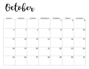 October 2020 Calendar Free Printable Handletterd
