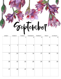 September 2020 Free Printable Calendar - Floral. Watercolor flower design calendar pages for a office or home calendar for work or family organization. #papertraildesign #calendar2020 #calendar #2020calendar #flowercalendar #floralprintables
