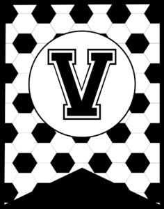 Soccer Banner Letter V