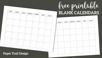 Free Printable Blank Calendar Template. Simple planning calendar layout. Monthly calendar or five week calendar that overlaps months. #papertraildesign #calendar #calendarprintable #printablecalendar #blankcalendar #freeprintable #organize #organization