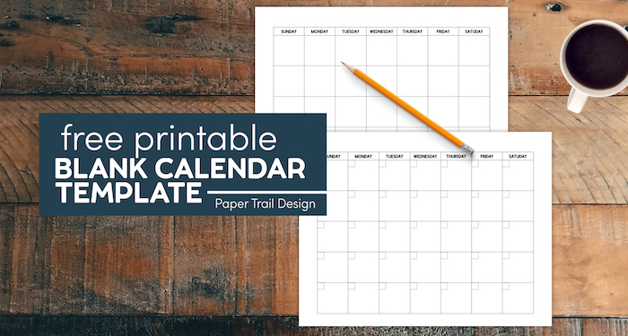 Free printable blank calendar template pages to print a monthly calendar with text overlay-free printable blank calendar template