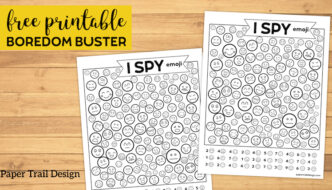 Free Printable I Spy Emoji Game. Boredom buster for fun summer, winter, or road trip travel games. Find the emoticon faces. #papertraildesign #ispy #boredombuster #roadtrip #kidsgames #kidsfreebies