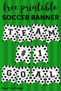 Free Printable Soccer Banner. Soccer party decorations idea. Print for soccer team party decor, birthday parties, or baby showers. #papertraildesign #soccer #soccerparty #futbol #soccerbanner #soccerpartyprintables #soccerprintables