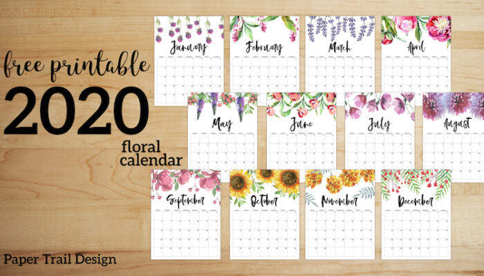 Free Printable Calendar 2020 - Floral. Watercolor Flower design style calendar. Monthly calendar pages. Cute office or desk organization. #papertraildesign #calendar #floralcalendar #2020 #2020calendar #floral2020calendar