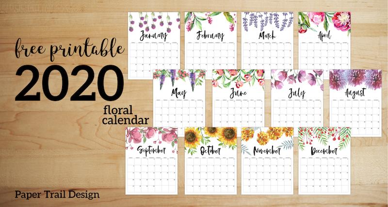 free printable calendar 2020 - floral