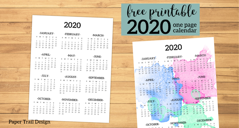 Calendar 2020 Printable One Page Paper Trail Design