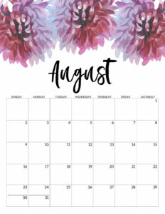 August Free Printable Calendar 2020 - Floral. Watercolor Flower design style calendar. Monthly calendar pages. Cute office or desk organization. #papertraildesign #calendar #floralcalendar #2020 #2020calendar #floral2020calendar
