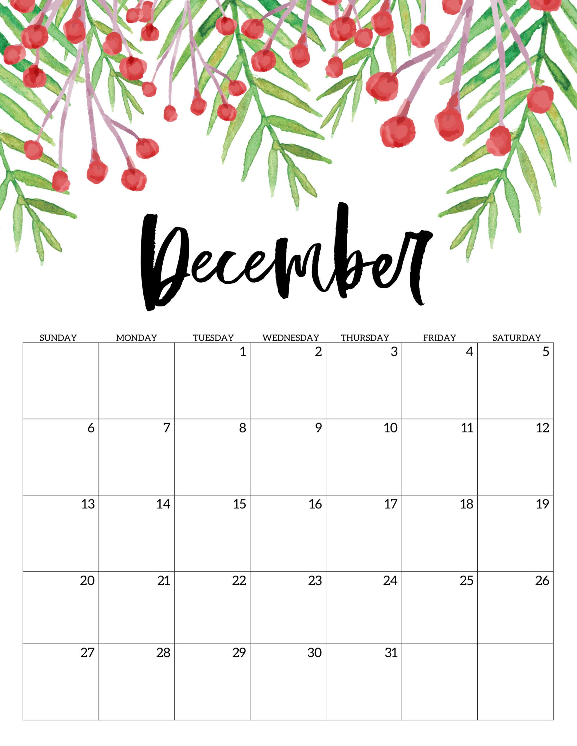 Printable December 2020 Calendar.Free Printable Calendar 2020 Floral Paper Trail Design