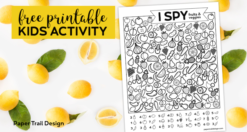 Free Printable I Spy Game - Fruits & Veggies. Easy fun car activity or rainy day boredom buster activty to keep kids busy. #papertraildesign #ISpy #Ispygame #ispyprintable #boredombuster #rainyday #summer